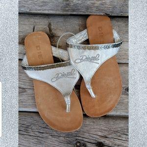 Diesel Shoes - Diesel girls silver flip flops size 10. NWT